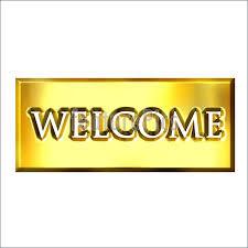 illustration of 3d golden welcome sign