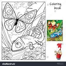 butterfly chameleon coloring book cartoon vector stock vector