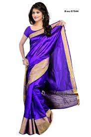 Dark Purple Colors Dark Purple Color Bangalore Silk Saree With Blouse