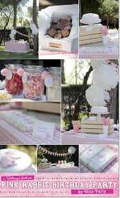 Backyard Sweet 16 Party Ideas A Sweets And Snacks Table For A Pink Rabbit Birthday Theme