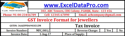 download gst invoice format for jewelers in excel exceldatapro