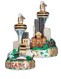 world ornaments seattle skyline glass ornament 20065