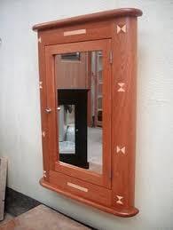 Recessed Medicine Cabinet Wood Door Solid Wood Handmade Cherry Recessed Medicine Cabinet Mirror