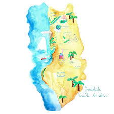 Seine River World Map by Illustrated Map Of Jeddah Saudi Arabia Jeddah Map Illustrated