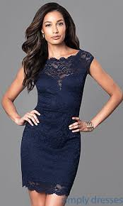 navy blue dress navy blue lace wedding guest party dress