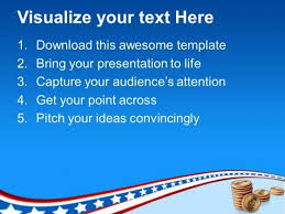 stack of coins with american flag powerpoint templates ppt