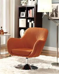 Retro Accent Chair Retro Orange Fabric Metal Swivel Accent Chair Coaster Furniture