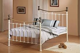 Brass Double Bed Frame Victorian 4ft6 Double Elizabeth Antique Ivory Brass Metal Bed