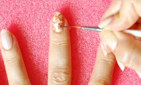 wedding nails copper flowers mani seasonails