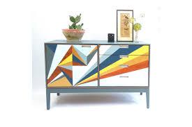 retro sideboard geometric handpainted mid century teak