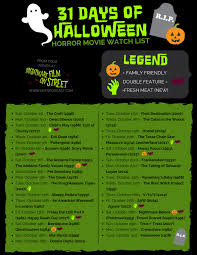 31 days of halloween 2017 horror movie marathon list printable
