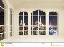 White Loft by White Loft Interior With Big Windows And City View At Night Stock