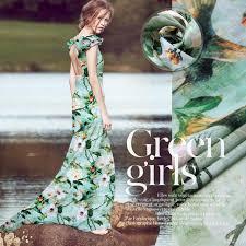 aliexpress com buy 50cmx140cm green flower printed silk linen
