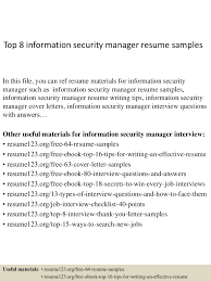 Sales Account Manager Resume Sample Top8informationsecuritymanagerresumesamples 150410090036 Conversion Gate01 Thumbnail 4 Jpg Cb U003d1428674479