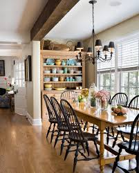 windsor chairs and with black lantern pendants dining room beach