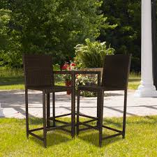 High Patio Table And Chairs Indoor Outdoor Bar Height Wicker Bistro Set