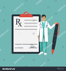 doctor stands near clipboard pen hand stock vector 708383395