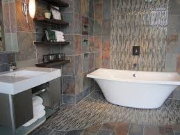 slate tile bathroom ideas slate bathroom with slate and glass mosaic freestanding kohler tub