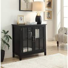 accent cabinet with glass doors olivia black accent cabinet and 2 glass doors sk19087c2 bk the