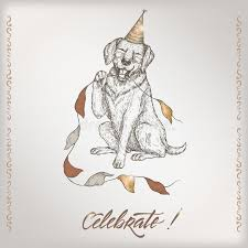 romantic vintage birthday card template with calligraphy dog and