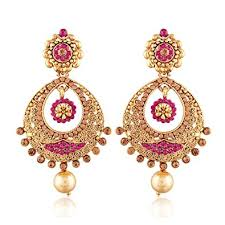 earrings images buy i jewels gold plated chandbali earrings for women e2326q pink