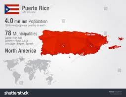 Puerto Rico On World Map Puerto Rico World Map Pixel Diamond Stock Vector 219381637