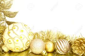 golden christmas border of baubles and shiny garland stock photo