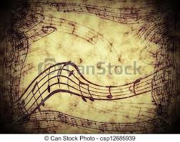drawings of music notes on old paper sheet background csp12685939