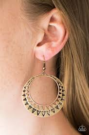ear hoop paparazzi rustic rays brass hoop sunburst pattern earrings