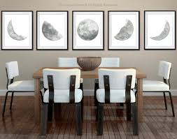 moon phases 5 watercolor prints set full moon painting grey