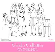 cheeky woman gatsby collection coloring page fashion