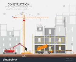 Building A House Plans Concept Process Construction Building House Vector Stock Vector