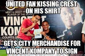 Meme Merchandise - meme creator united fan kissing crest on his shirt gets city