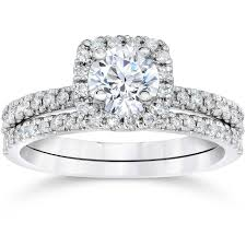 engagement and wedding ring sets 5 8 carat cushion halo diamond engagement wedding ring set white gold