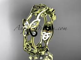 butterfly engagement rings 14kt yellow gold celtic knot engagement ring wedding band