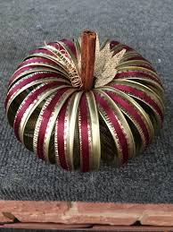 canning jar ring pumpkin with burgandy picot lace and burlap