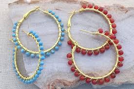 hoop beaded earrings gemstone bead wire wrapped hoops