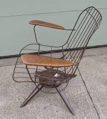 Swivel Patio Chair Vintage Mid Century Modern Eames Era Wire Chair Brown