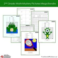 2nd grade math mystery pictures coloring worksheets mega bundle