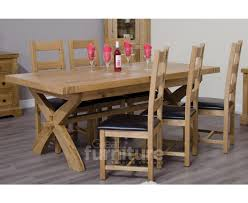 deluxe x leg dual extending solid oak dining table with ladderback