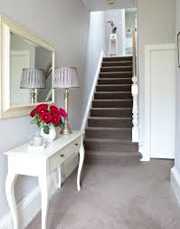 Hallway And Stairs Colour Ideas by White Traditional Hallway With Taupe Carpet And French Style