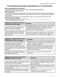 mla citations works cited cheat sheet for students editable by