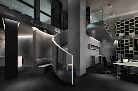 interior concrete walls look of high end office interior ds max scene with concrete walls