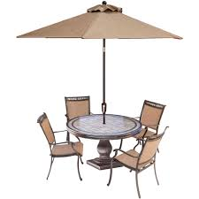 Patio Furniture Dining Sets With Umbrella - hanover fontana 5 piece aluminum round outdoor dining set with