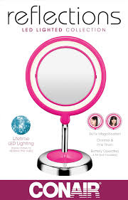 conair led lighted mirror conair led lighted collection mirror chrome pink finish round
