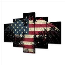 Eagle American Flag Hd Printed Eagle Usa Flag Digital Art Painting Canvas Print Room