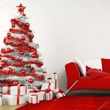 white and red christmas tree in a modern home u2014 stock photo