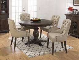 furniture wooden oval dining table in brown with tufted beige