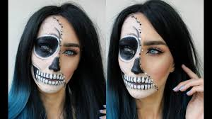 half halloween makeup glam half skull halloween makeup tutorial youtube