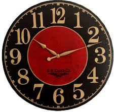 24 inch devonshire large wall clock antique style red by klocktime